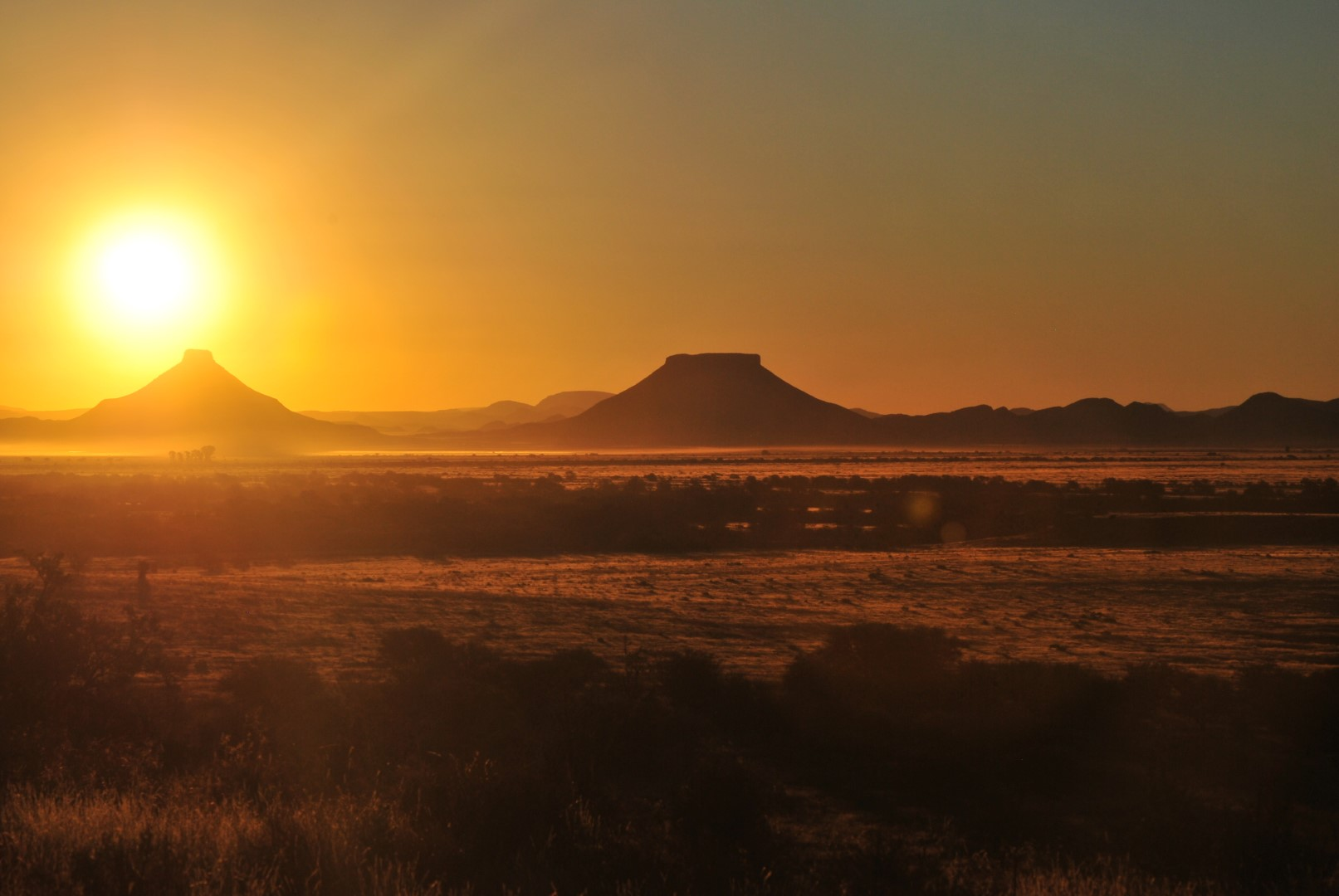 Dusty Sunset over mountains